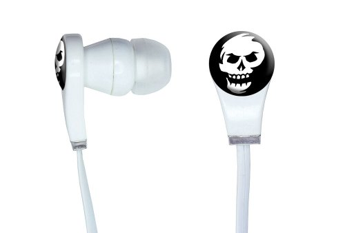 Graphics And More Skull Abstract Novelty In-Ear Headphones Earbuds - Non-Retail Packaging - White