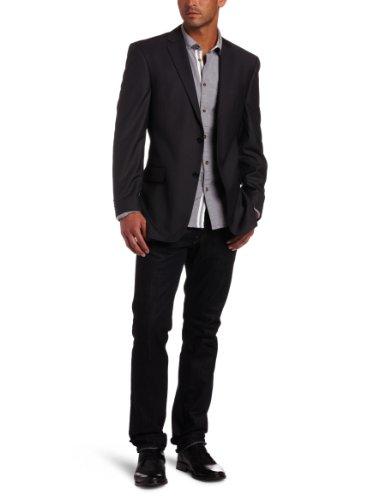 Marc Ecko Men's Trim Fit 2 Button Side Vent Charcoal Coat