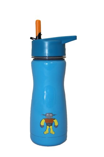 Eco Vessel Discontinued 2014 Kid's Frost Triple-Insulated Stainless Steel Water Bottle with Flip Straw, 13-Ounce, Blue with Robot Old 2014 Style (2014 Robot compare prices)