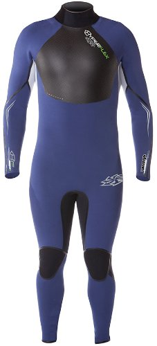 Hyperflex Wetsuits Men's Amp Surf Series 3/2mm Back Zip Full Suit,Blue/Black/White,Large Short