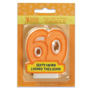 Oasis Supply 60th Birthday Candles, 2.75-Inch - 1