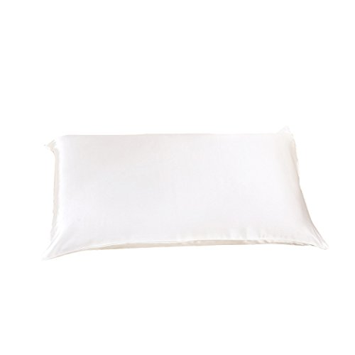 Alaska Bear - Natural Silk Pillowcase for Hair & Facial Beauty Queen Standard Size, Ivory White Pillow Sham Cover with Hidden Zipper (1, Ivory(non-bleached))