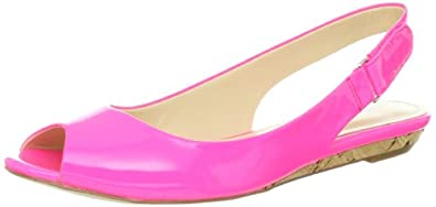 Calvin Klein Women's Jaylin Patent Ballet Flat,Bright Pink,10 M US