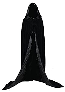 AngelWardrobe Halloween Hooded Cloak MEDIEVAL Various Colors Wedding Cape SCA Black-Black XXXL
