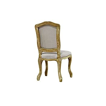 Baxton Studio Chateauneuf French Vintage Cottage Weathered Oak Linen Upholstered Dining Side Chair, Medium, Beige