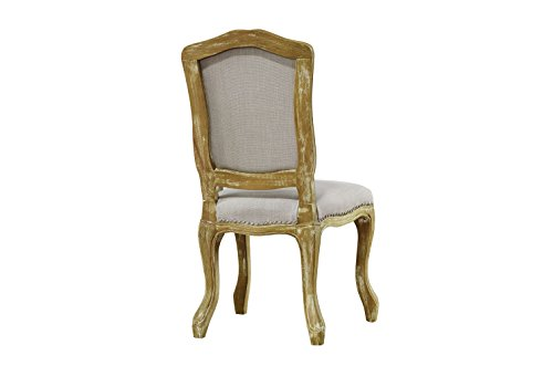 Baxton Studio Chateauneuf French Vintage Cottage Weathered Oak Linen Upholstered Dining Side Chair, Medium, Beige 2