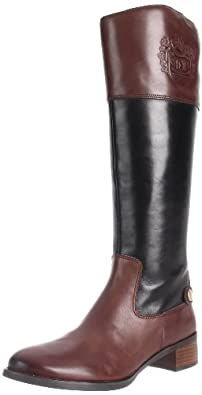 Etienne Aigner Women's Chip Riding Boot,Black/Oxford Brown Combo,11 M US