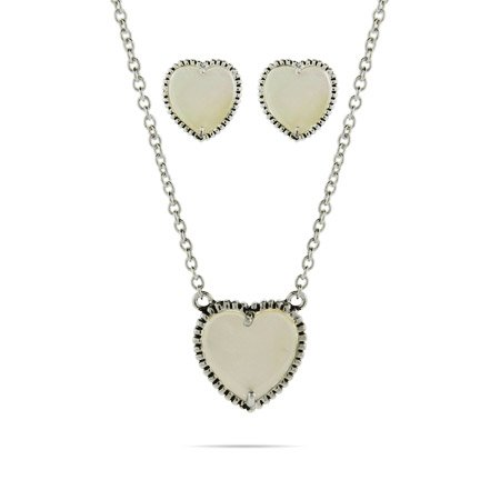 Mother of Pearl Heart Necklace and Earring Set - Clearance Final Sale