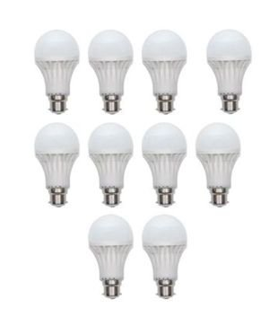 7W and 12W LED Bulbs (White, Pack of 10)