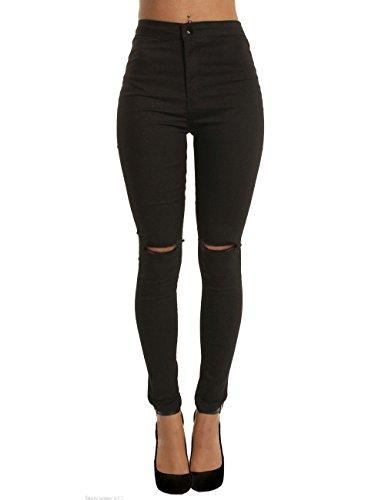 Donne Sigaretta pantaloni jeans strappati vita alta i pantaloni scarni
