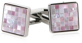 Elegant Silver Cufflinks with Inlaid Mosaic Pink Mother of Pearl with Presentation Box