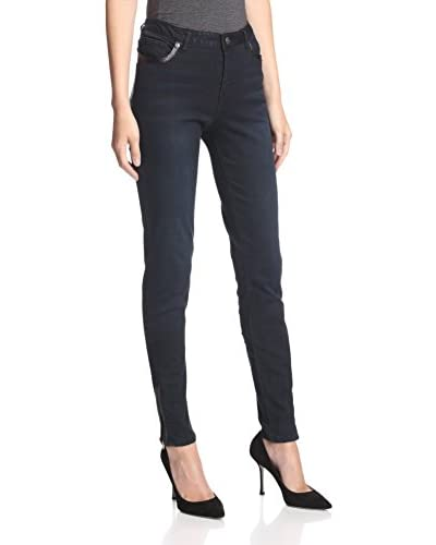 ABS Denim by Allen Schwartz Women's Skinny Jean with Faux Leather Trim