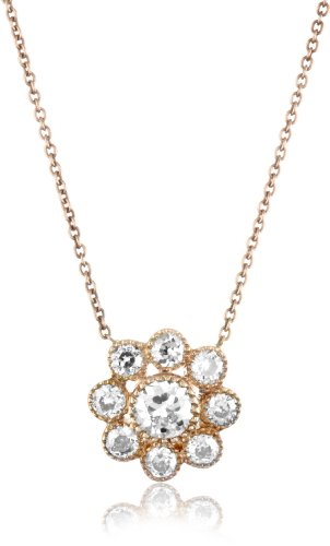 Sethi Couture White Diamond Rose Gold Cluster Pendant Necklace
