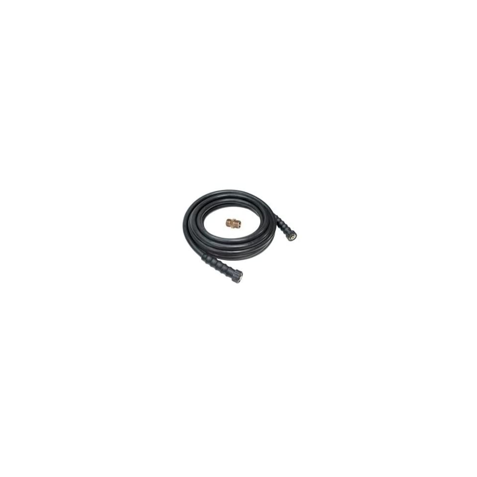 3/8 x 50 Black Rubber Pressure Washer Hose Coupled 3/8 F M22 x F M22 with M M22 Adapter