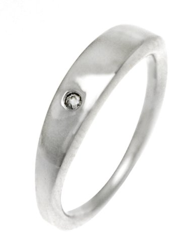 White Ice London Silver Ring with Diamonds DR002 Flat Band Ring with Single Diamond - Size J