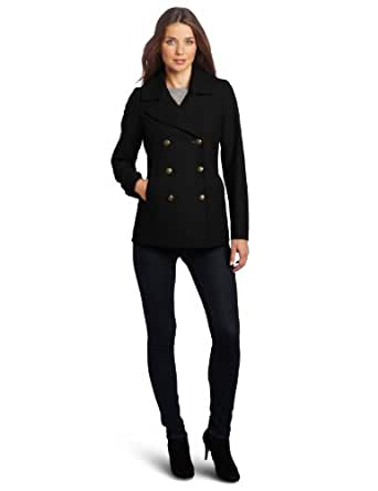 Tommy Hilfiger Women's Classic Double Breasted Wool Peacoat, Black, 2