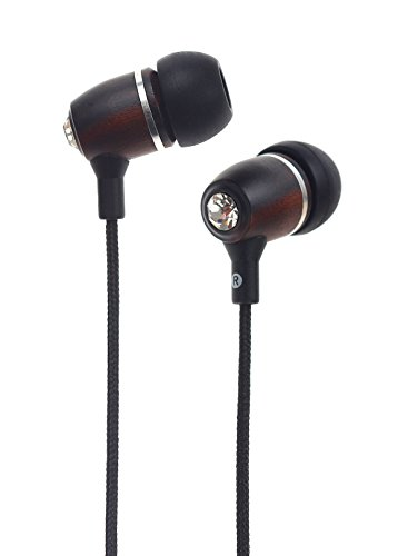 Symphonized Bling Premium Genuine Wood In-Ear Noise-Isolating Headphones With Mic And Nylon Cable (Black)