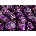 Chessex Dice: Polyhedral 7-Die Vortex Dice Set - Purple w/gold