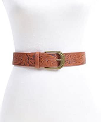 floral pattern leather belt brown at women s
