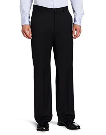 Joseph Abboud Men's Flat Front Dress Pant, Black, 34x32