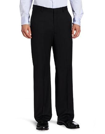 Joseph Abboud Men's Solid Flat Front Dress Pant,  Black, 30Wx32L