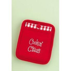 Christmas Cookin' Claus Pocket Mitt and Towel 2pc Kitchen Linen Set
