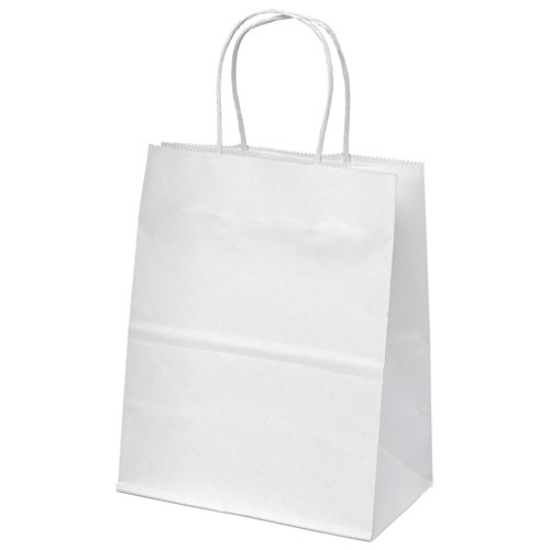 "8""x4.75""x10"" 25 Pcs. White Kraft Paper Bags Shopping Merchan"