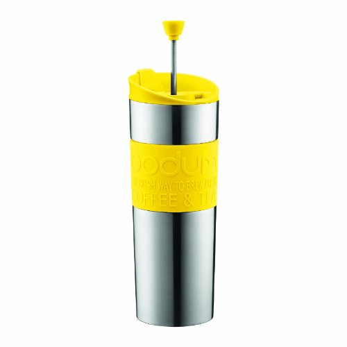 Bodum Stainless Steel Vacuum Travel Press Coffee Maker with Yellow Silicone Grip, 16-Ounce