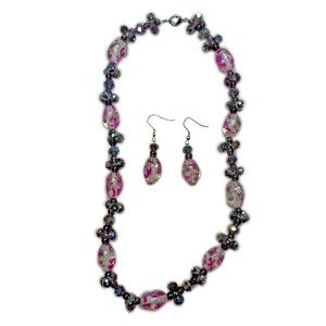 TJC Natural Stainless Steel Jewellery Set With Purple Glass Stone