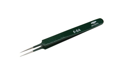 Aven 18062EZ E-Z Pik Style 5 Precision Tweezer, Stainless Steel, 4-1/4
