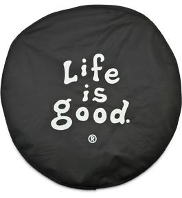 Life is Good Coin Tire Cover, Black, 29-Inch
