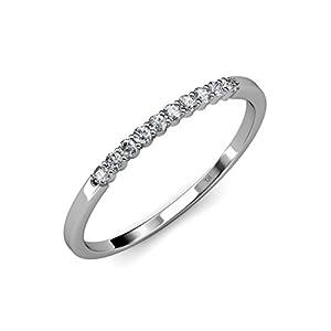 Diamond 10 Stone Wedding Band (SI2-I1, G-H) 0.25 ct tw in 14K White Gold.size 6.5