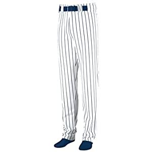 Striped Open Bottom Baseball Softball Pants - 3XL - NAVY & WHITE by Augusta