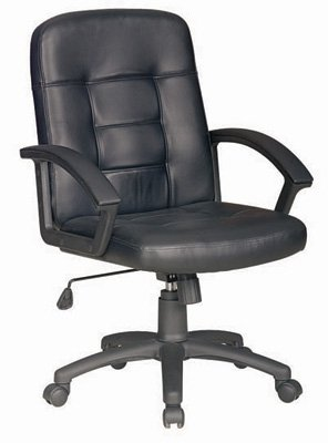 Charles Jacobs Computer / Office Desk Chair In Black Pu Leather