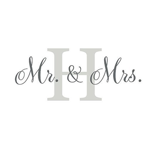 Monogram Decal-Mr And Mrs Wedding Decal-Personalized Family Initial Wall Decor 22 inches