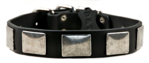 "Dean And Tyler ""Tyler'S Vintage"", Leather Dog Collar With Vintage Nickel Plates - Black - Size 34-Inch By 1-1/2-Inch - Fits Neck 32-Inch To 36-Inch front-7512"
