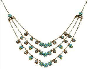 Michal Negrin Graceful 3-Layered Necklace Designed with Delicate Flower Ornaments, Accented with Turquoise, Blue and Green Swarovski Crystals; Hand-made in Israel