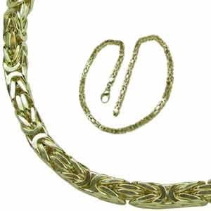 14Kt Yellow Gold Byzantine Fancy Men's Gold Chain
