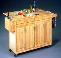 Wood Top Natural Kitchen Cart with Breakfast Bar