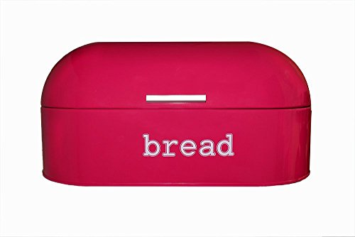 Red Pink (Deep Salmon Color) Stainless Steel Vintage Bread Box for Kitchen Storage 17 x 8.5 x 8.5 in (Bread Enamel compare prices)