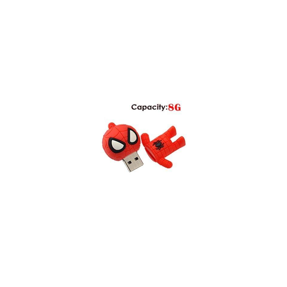 8G Small Cartoon Spider Man Shape Rubber USB Flash Drive (Red)