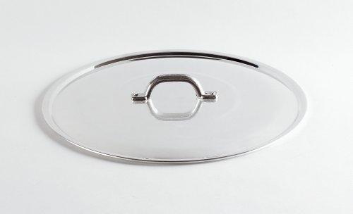 Pentole Agnelli Coperchio Piano, Lucido, con Manico, Orlo e Ponticello, Tipo Pesante, in Alluminio BLTF, Argento, 40 cm