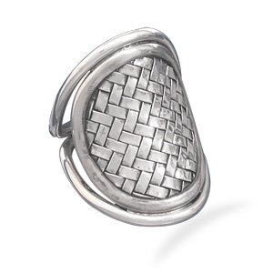 Sterling Silver Oval Weave Design Ring / Size 8