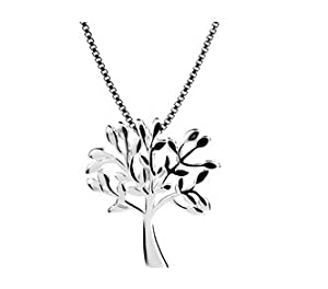 "Tree of Life Olive Leaf Sterling Silver 925 Pendant Necklace 41 cm/16"""