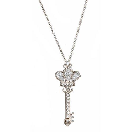 Vintage CZ Crown Key Necklace in Sterling Silver 16