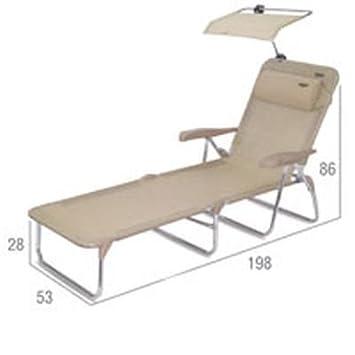 Stabielo-Crespo-3,92kg ligero-Tumbona con reposabrazos reposacabezas de de la Silla de playa sol + techo-6posiciones de Vertical En Posición-Color: Arena-Stabielo C