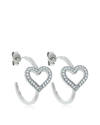 Diamonere Sterling Silver Pavé Heart J Hoop Earrings