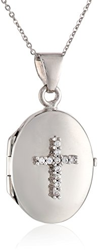 Italian Sterling Silver Reversible Red Oval And Cubic Zirconia Cross Locket Necklace, 18""