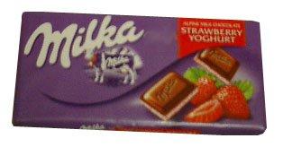 Milka Milk Chocolate Filled with Strawberry and Yogurt, 100g