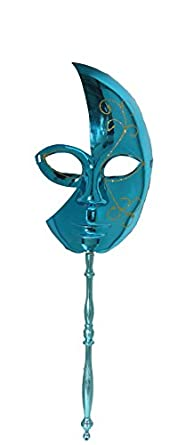 Mardi Gras Mask Elegant Masquerade Mask with Stick - 2 Pack